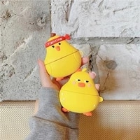 for airpods 12 casecartoon yellow duck case for airpods case soft silicone earphone headphone cover for airpods pro case