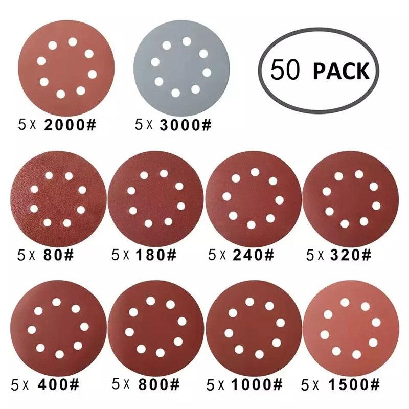 50/100 Uds 125mm discos de lijado de forma redonda papel de lija - Herramientas abrasivas - foto 3