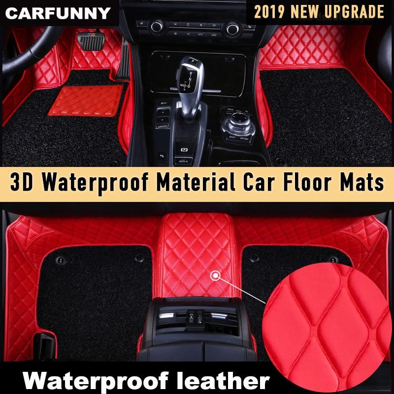 Alfombrillas CARFUNNY impermeables de cuero para coche para Volkswage CC EOS TSI UP Caravelle Gran Lavida Laman alfombra automotriz personalizada