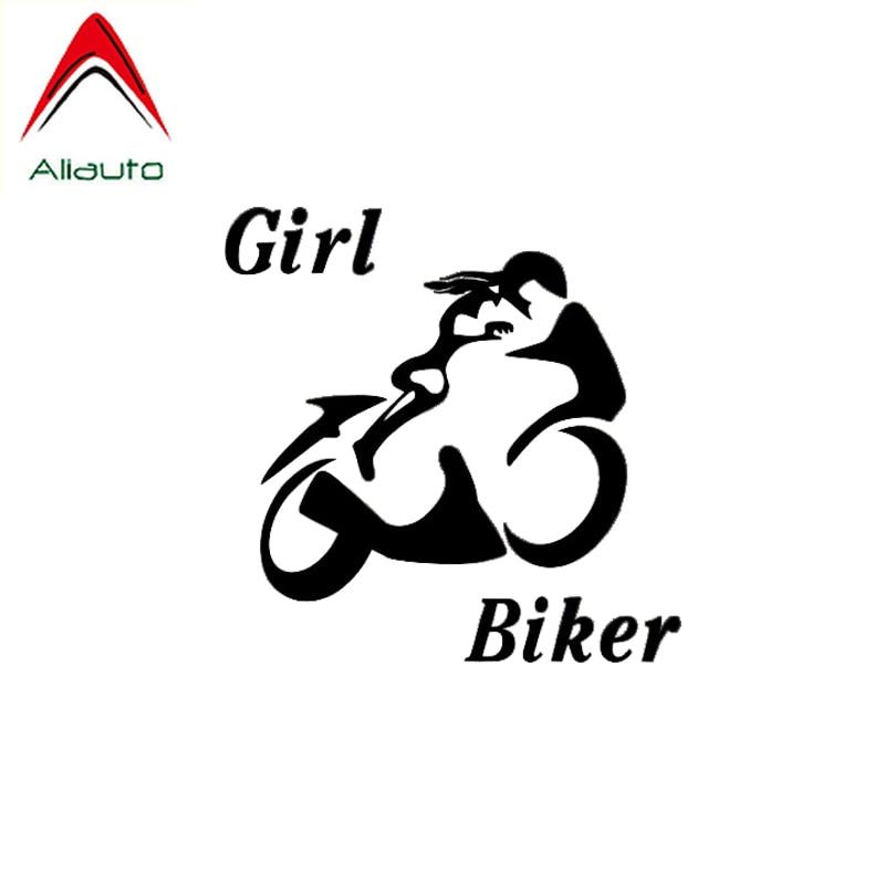 Aliauto Persoonlijkheid Auto Sticker Sexy Krachtige Meisje Biker Populaire Ontwerp Zero Defect Bekwame Vinyl Decal Zwart/Zilver, 10 Cm * 10 Cm