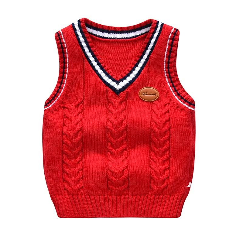 Ropa de bebé niños suéteres ropa de niños cuello en V Chaleco de algodón uniforme escolar punto Niño niño suéteres CENKIBEYRA