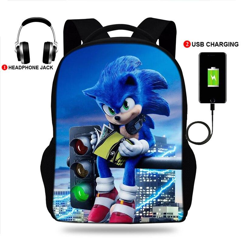 Sonici o Hedgehoger Mochilas para Adolescentes Polegada Escola Mochila Bolsa 3d Impresso Usb Carregamento Bookbag Estudante Meninos Meninas 17