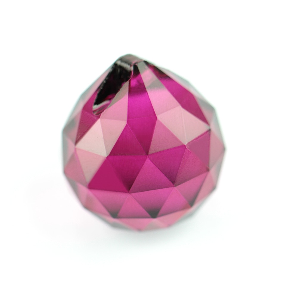 Fuchsia 15mm-40mm Faceted Balls K9 Crystal Chandelier Parts Prism Suncatcher Hanging Pendant Wedding Decoration
