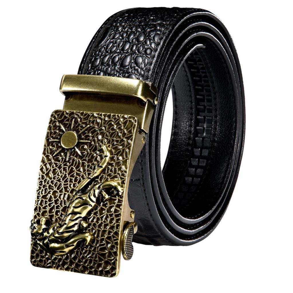 Designer Metal Automatic Animals Solid Gold Silver Buckles Mens Belts Black Crocodile Pattern Leather Men Belt Ratchet Waistband
