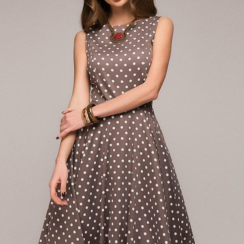 Sleeveless Summer Women Dress With Belt High Waist Retro Vestidos Polka Dot Print Casual Long Swing Runway Maxi Dress for Party