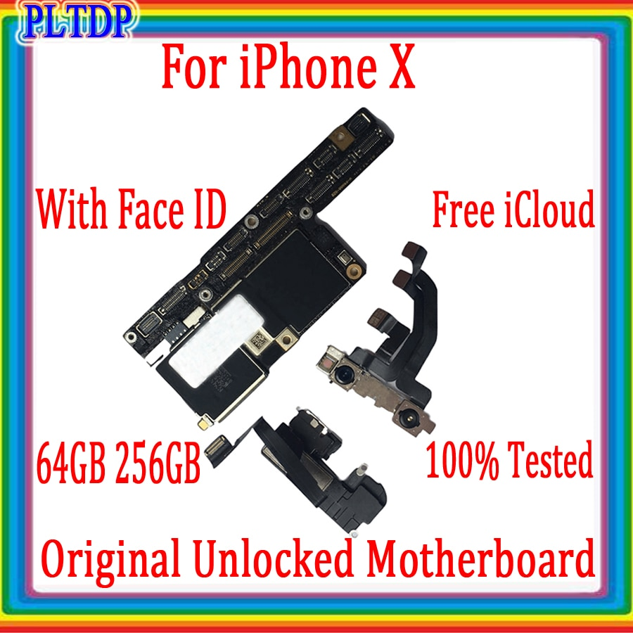 Promo Placa For iphone X motherboard with face id Free iCloud 100% Original for iphone X Logic board 64GB/256GB Good tested