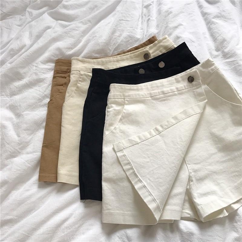 Diseño asimétrico con varias telas Sexy faldas de mezclilla para mujeres pantalones cortos de una sola hilera de pecho pantalones cortos blancos calientes pantalones cortos de mezclilla Feminino Jeans falda