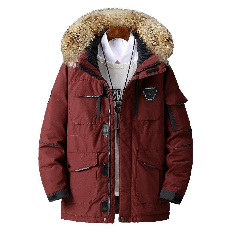 Oversized wide coat thick warm cotton coat men's winter jacket hooded windproof men's fur collar jacket winter new coat