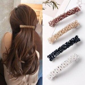 Заколки для волос с бусинами ручной работы женские, милые цветные зажимы для волос с кристаллами, Простые Модные аксессуары для волос для девушек и женщин