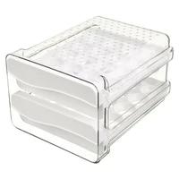 refrigerator egg storage bin with vents double plastic size drawer type for freezer kitchen accessories transparentwhite