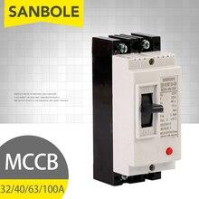 Interruptor de atmósfera MCCB 2P 32A/40A/63A/100A interruptor de circuito de estuche moldeado de plástico para distribución de energía