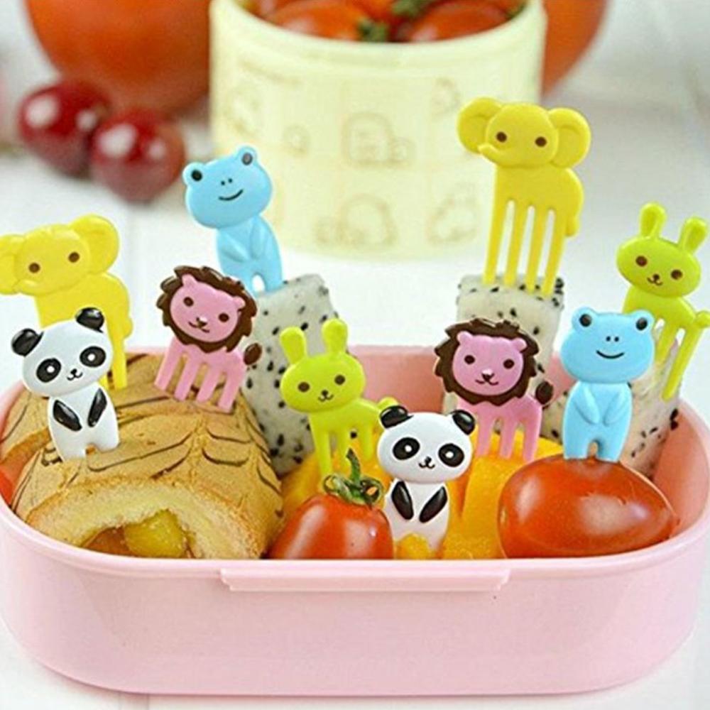 10 Uds al azar animales fruta Forks comida recoge para niños cocina...