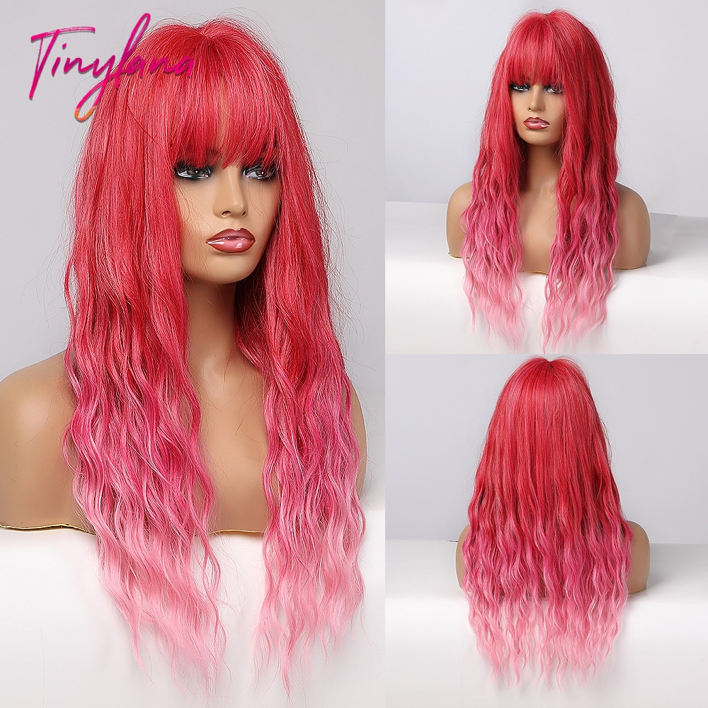 TINY LANA Long Water Curly Wave Wigs with Bangs Ombre Red Pink Colorful Synthetic Wig For Woman Cosplay Party Heat Resistant