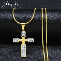 cross small crystal stainless steel statement necklace gold color catholic jesus chain necklaces jewelry colgante xh8025s05