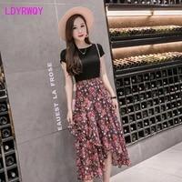 ldyrwqy a variety of flower patterns 2021 new high waist chiffon skirt floral irregular women asymmetrical