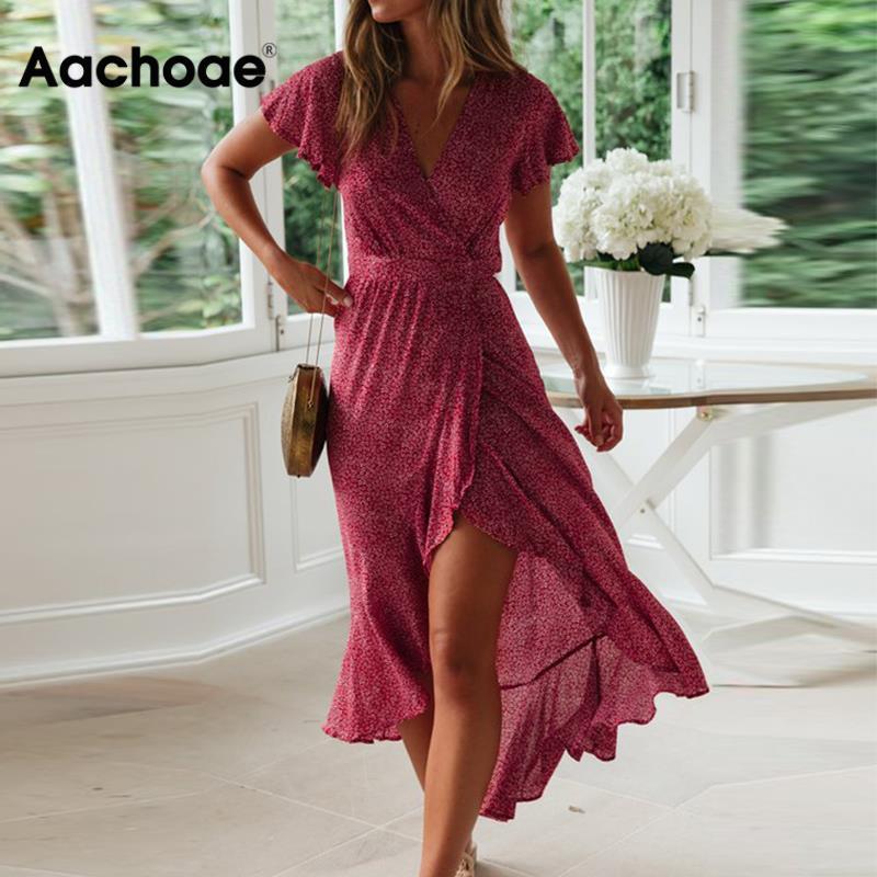 Aachoae verão vestido de praia feminino floral estampado longo vestido boêmio manga curta boho estilo maxi vestido babados vestidos de verão