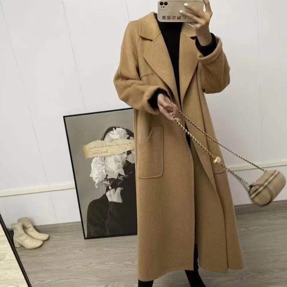 المرأة ماكسي مزدوجة الوجه الصوف مزيج التفاف معطف مع حزام السيدات أنيقة فضفاضة تناسب الجمل الصوف معطف