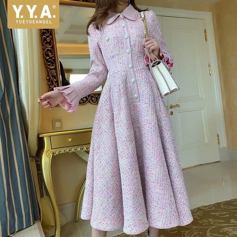 Designer Elegant Pearl Collar Tweed Midi Dress Women 2020 Autumn Sweet Slim Ruffle Long Sleeve Dress Bohemia Office Lady Dress
