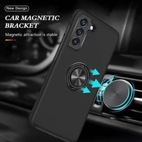 rugged armor shockproof case for samsung galaxy s21 fe 5g magnetic metal ring stand soft tpu hard pc shell protective back cover