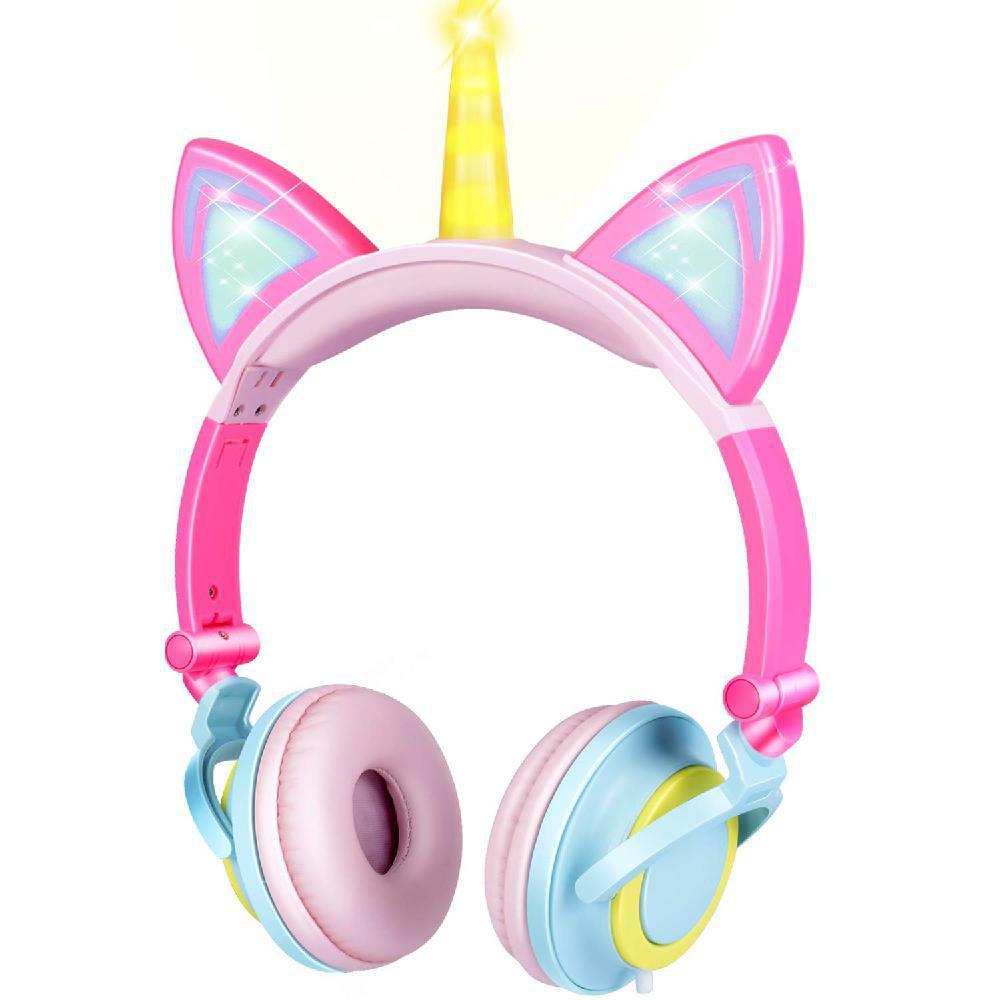 Plegables lindos niños luces LED auriculares con cable para niñas 3,5mm estéreo gato oreja juego diadema auricular regalo de Navidad