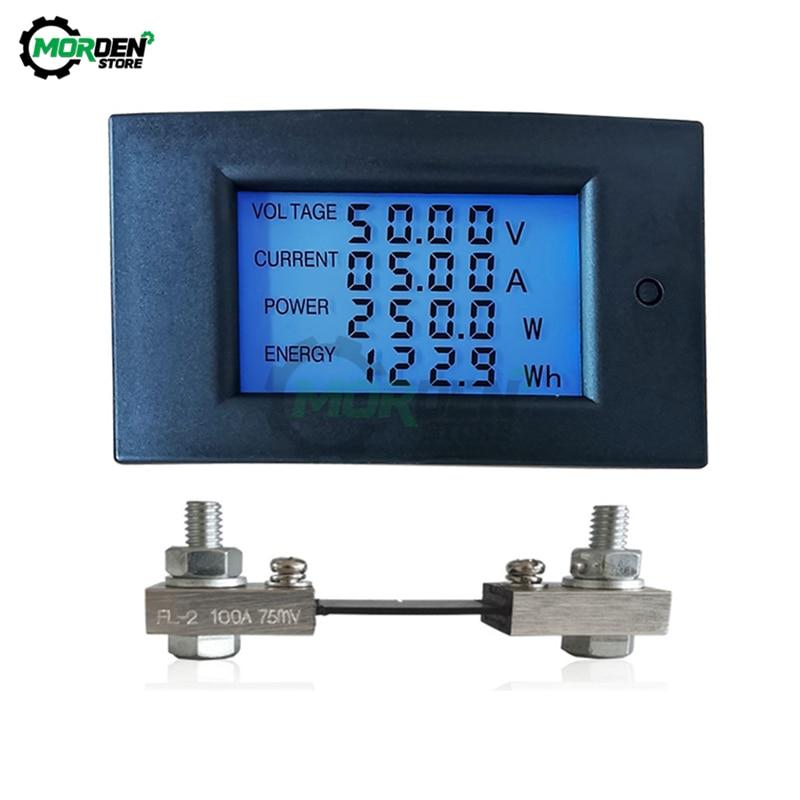 DC 100V 20A 50A 100A numérique LCD rétro-éclairage voltmètre ampèremètre wattmètre compteur de puissance Volt AMP testeur compteur dénergie 7.50-99.99V