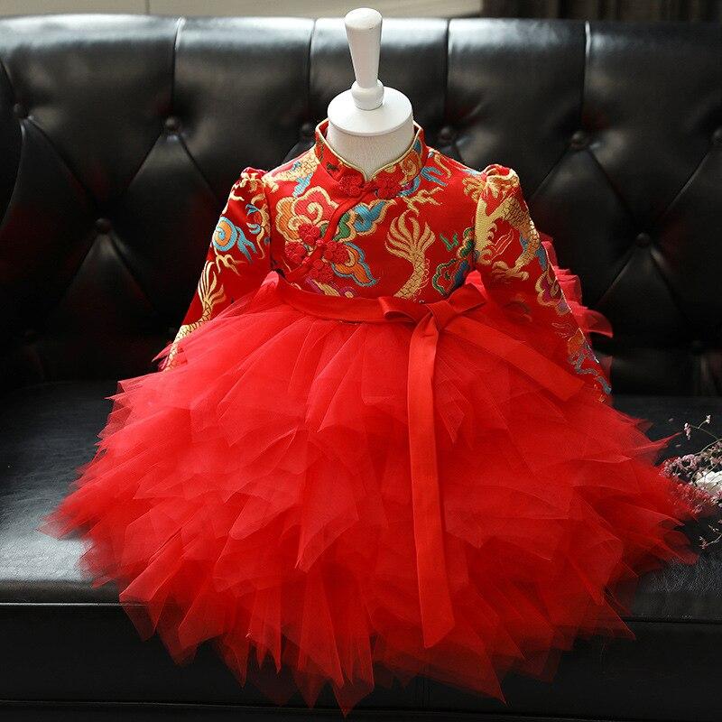 فستان على الطراز الصيني لحفلات التعميد وأعياد الميلاد للفتيات الصغيرات ، فستان أحمر بأكمام طويلة مزين بالزهور للأطفال الصغار ، شيونغسام