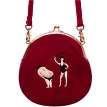Yizistore femmes Vintage sac velours broderie femmes sacs de messager en demi-cercle forme ronde Original conçu 2020 nouveau TANTO