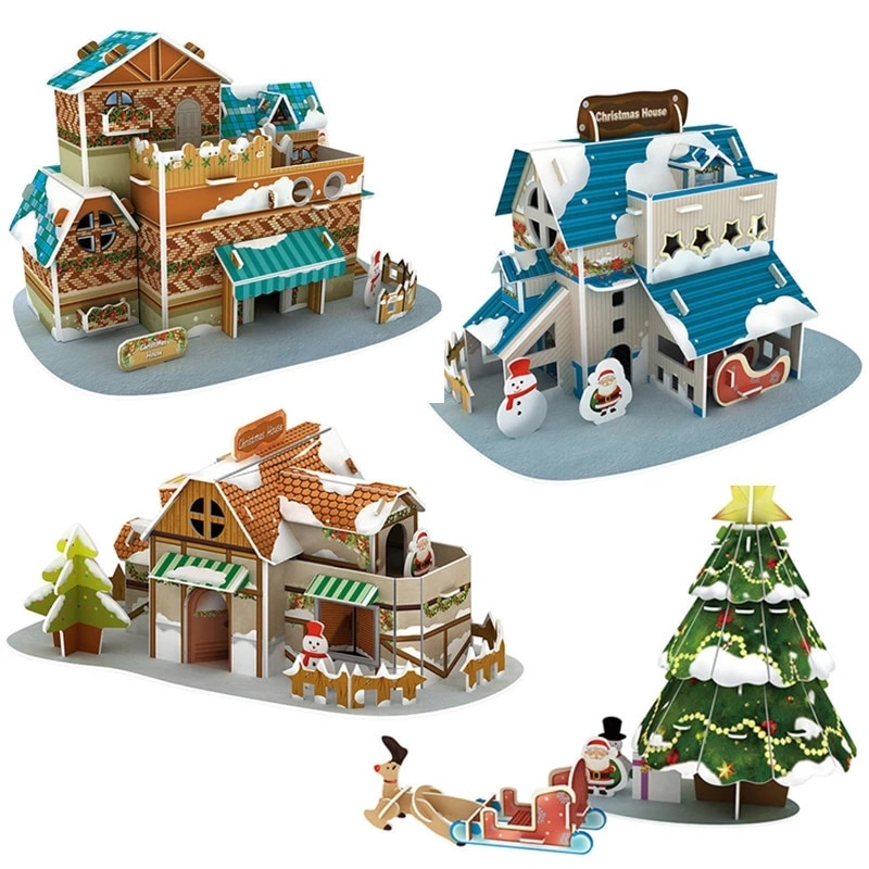 Christmas 3D Puzzle Toy House Tree Paper Model DIY Three-Dimensional Handmade Kit Assembled Education Toys for Children Gift