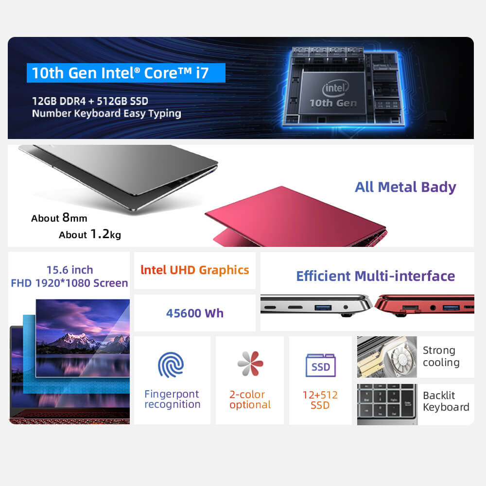 Dere V9 MAX  Intel I7 15.6 FHD Laptop 12GB 512GB SSD  Fingerprint Recognition 5G Dual-Band Wifi Notebook Windows 10 Computer