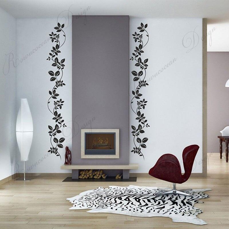 4 pçs/set Floral E Folhas Adesivos de Parede de Decoração Para Casa Moderna Sala de estar Decalques Quarto Mobiliário de Design de Interiores Porta Murais 3A73