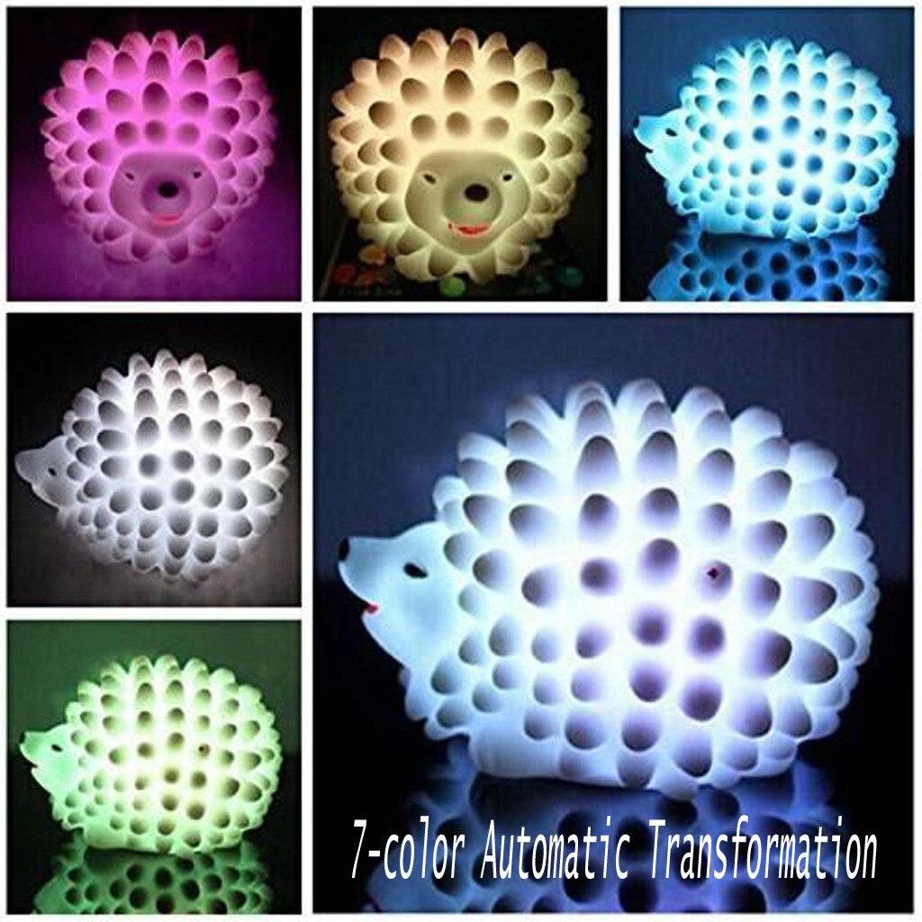 Decoração do agregado familiar lâmpada de mesa mudança cor natal presente luz do bebê casa cabeceira led ouriço led night light нlight # yl yl # yl