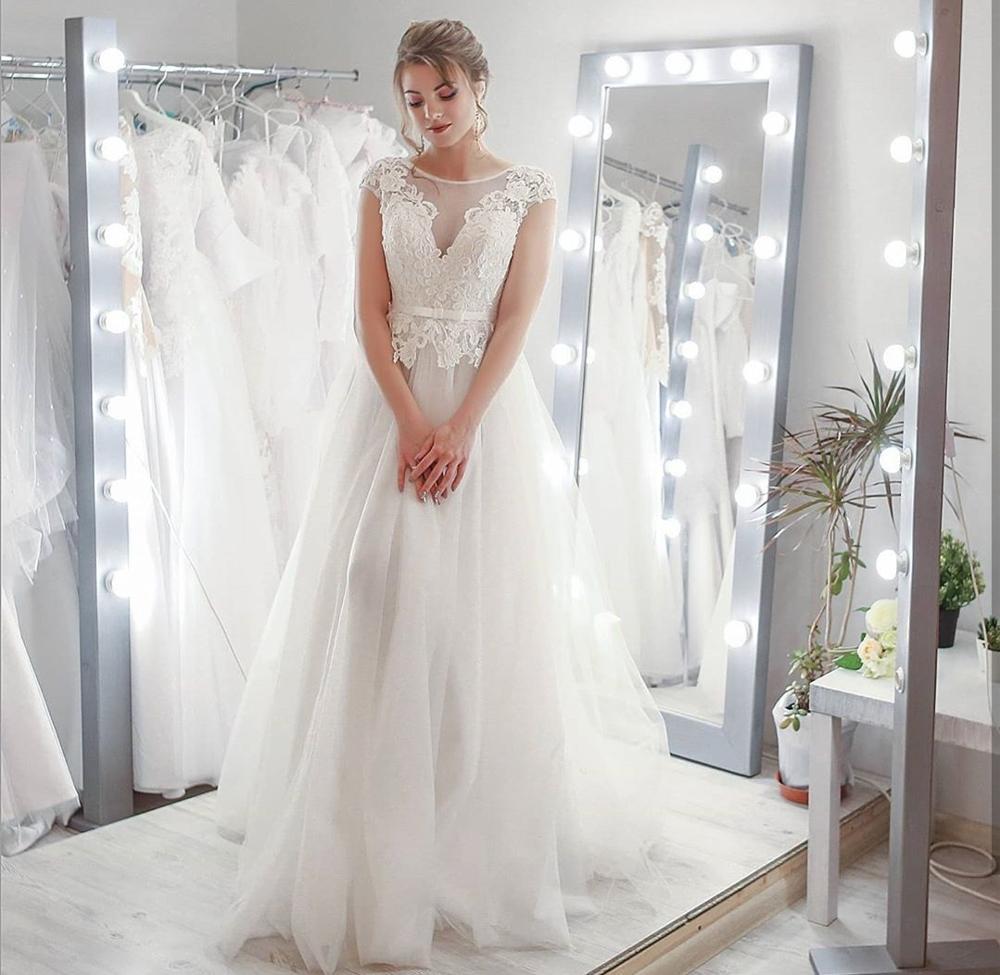 2020 última Bohemia boda Vestido de noche de un solo hombro manga larga hasta el suelo sirena de encaje con aplicaciones vestidos de novia vestido encantador de marie