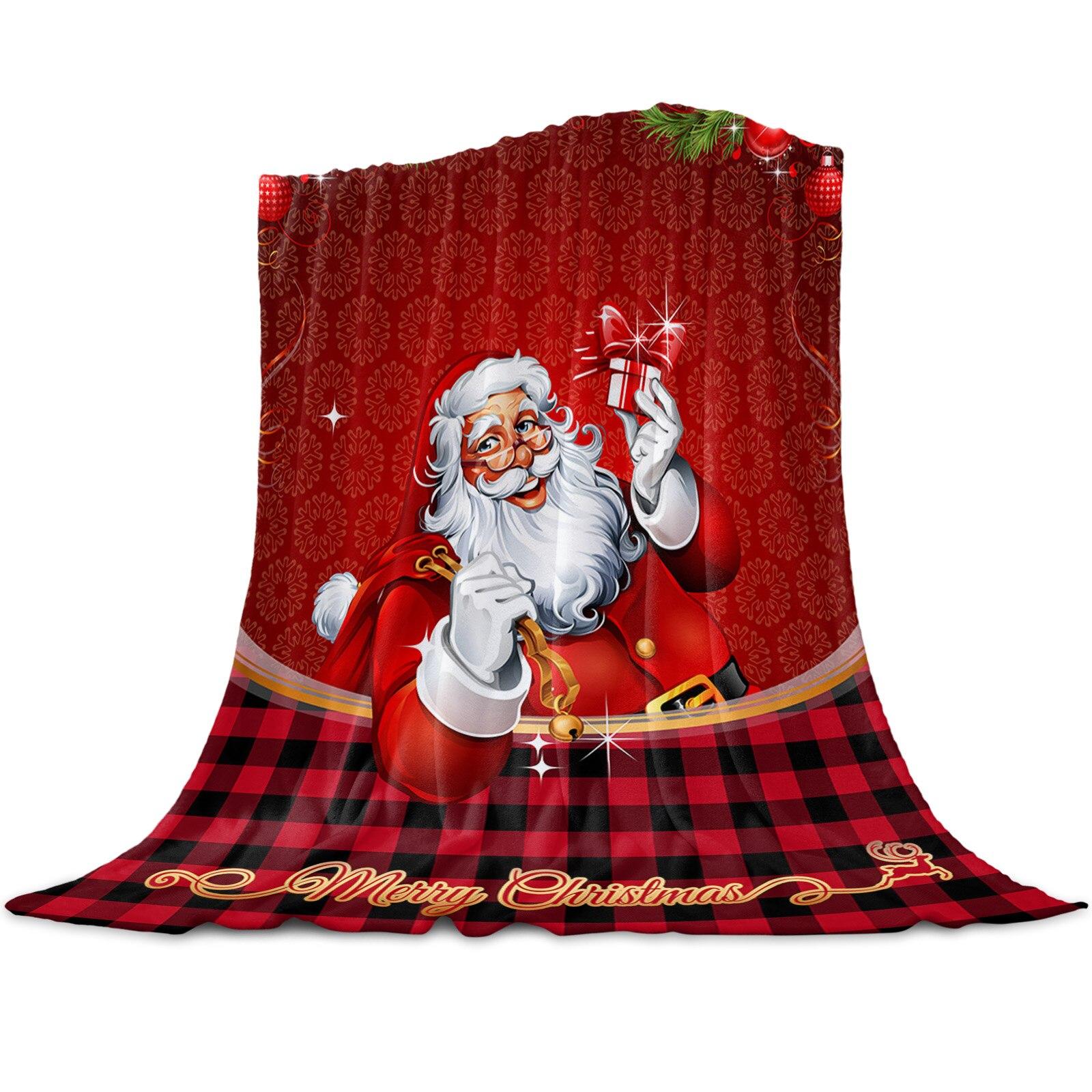 Santa Claus Lattice Gift Lantern Throw Blanket for Beds Microfiber Flannel Warm Blanket Sofa Bedding Bedspread Gifts