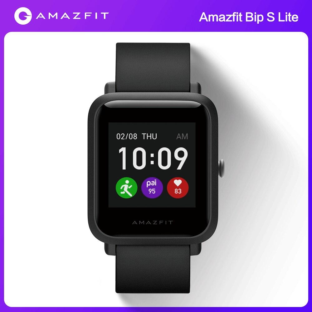 Amazfit بيب S لايت Smartwatch النسخة العالمية في الأسهم 30-يوم عمر البطارية 5 ATM للماء الموسيقى التحكم لالروبوت Ios الهاتف