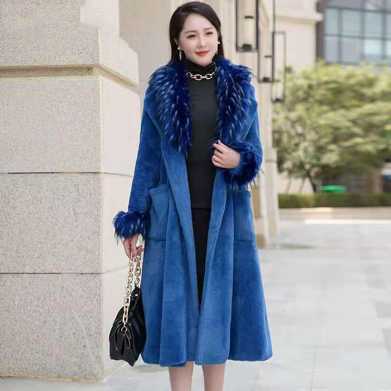 Invierno Blue Faux Rabbit Fur Coat Female Long Detachable Fur Collar Belt Faux Fur Outwear Women 2020 Winter Pocket Black B15