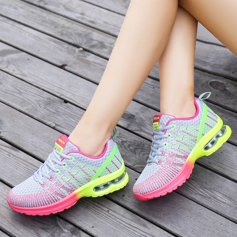 Women Casual Shoes Fashion Breathable Comfort Outdoor Walking Mesh Lace Up Flat Shoes Sneakers Women's Sneakers Tenis Feminino lin king comfortable women casual shoes fashion breathable running walking swing shoes slip on ladies sneakers tenis feminino
