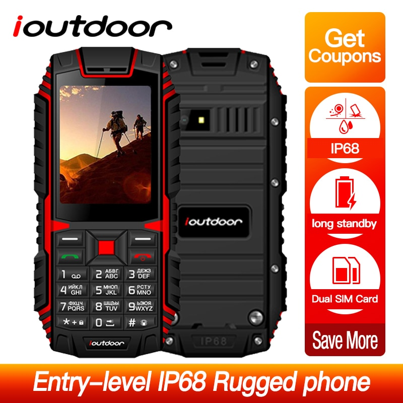 Ioutdoor T1 2G Telefon komórkowy IP68 wodoodporny, odporny na wstrząsy Telefon 2.4 ''128M + 32M 2MP aparat z tyłu FM Telefon Celular 2100mAh