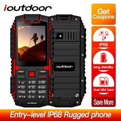 Мобильный телефон ioutdoor T1, 2G, IP68 водонепроницаемый ударопрочный телефон, 2,4 дюйма, 128 м + 32 м, 2 Мп, задняя камера, fm-радио, 2100 мАч