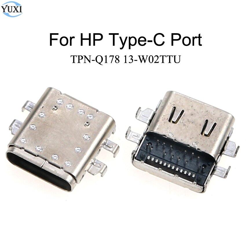 Yuxi 2 pces tipo c usb dc carregamento soquete porto conector substituição para hp TPN-Q178 13-w02ttu