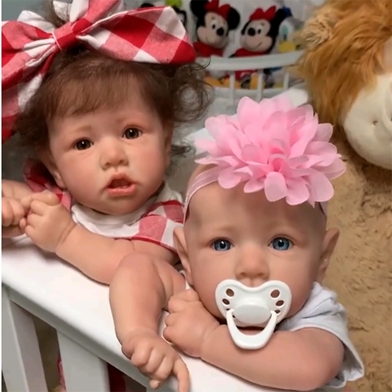 Reborn Baby Dolls 55cm Babies DOLL Newborn Realistic lifelike Toddler dolls full soft Silicone body Bonecas with Crooked mouth baby emulated doll soft reborn baby dolls newborn silicone full body lifelike doll washable handmade open mouth