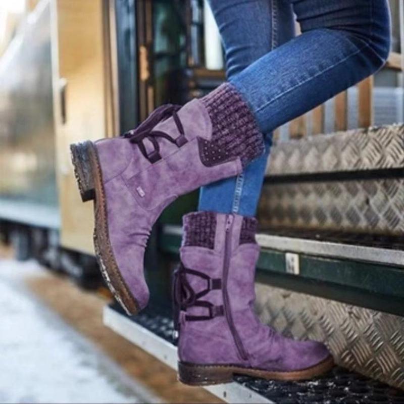 2020 botas de nieve de cuero genuino para mujer, botas de Invierno para mujer, botas de Invierno para mujer, botas de plataforma a media pantorrilla para mujer, 2019