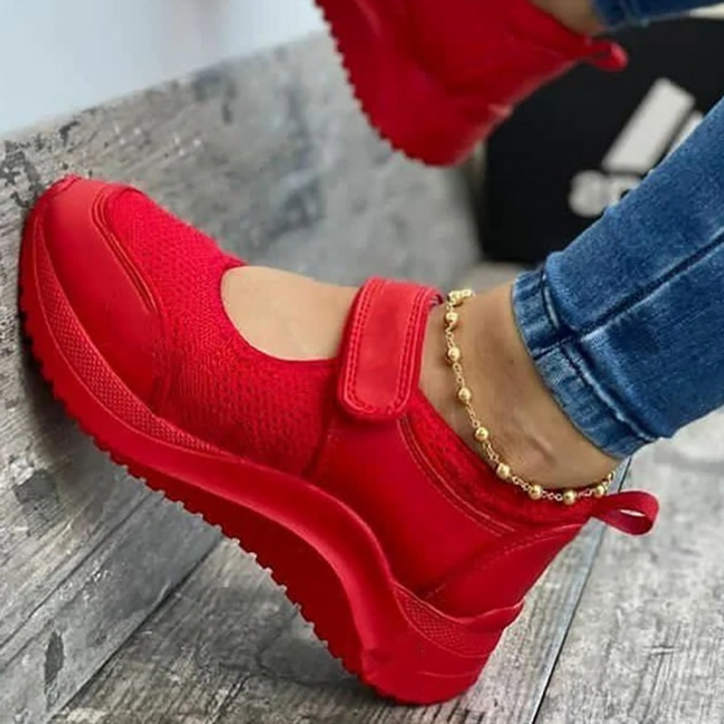 Zapatos informales de verano para mujer de zapatillas con plataforma de malla...