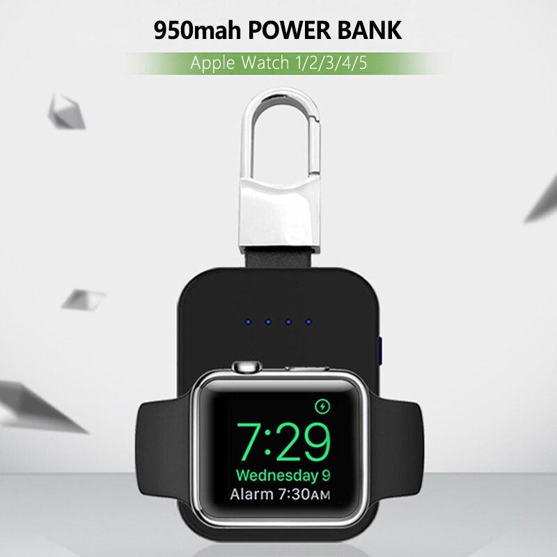 Reloj Qi cargador inalámbrico 950mAh Mini PowerBank para Apple iWatch 5 4 3 2 1 cargador de batería externa portátil inalámbrico