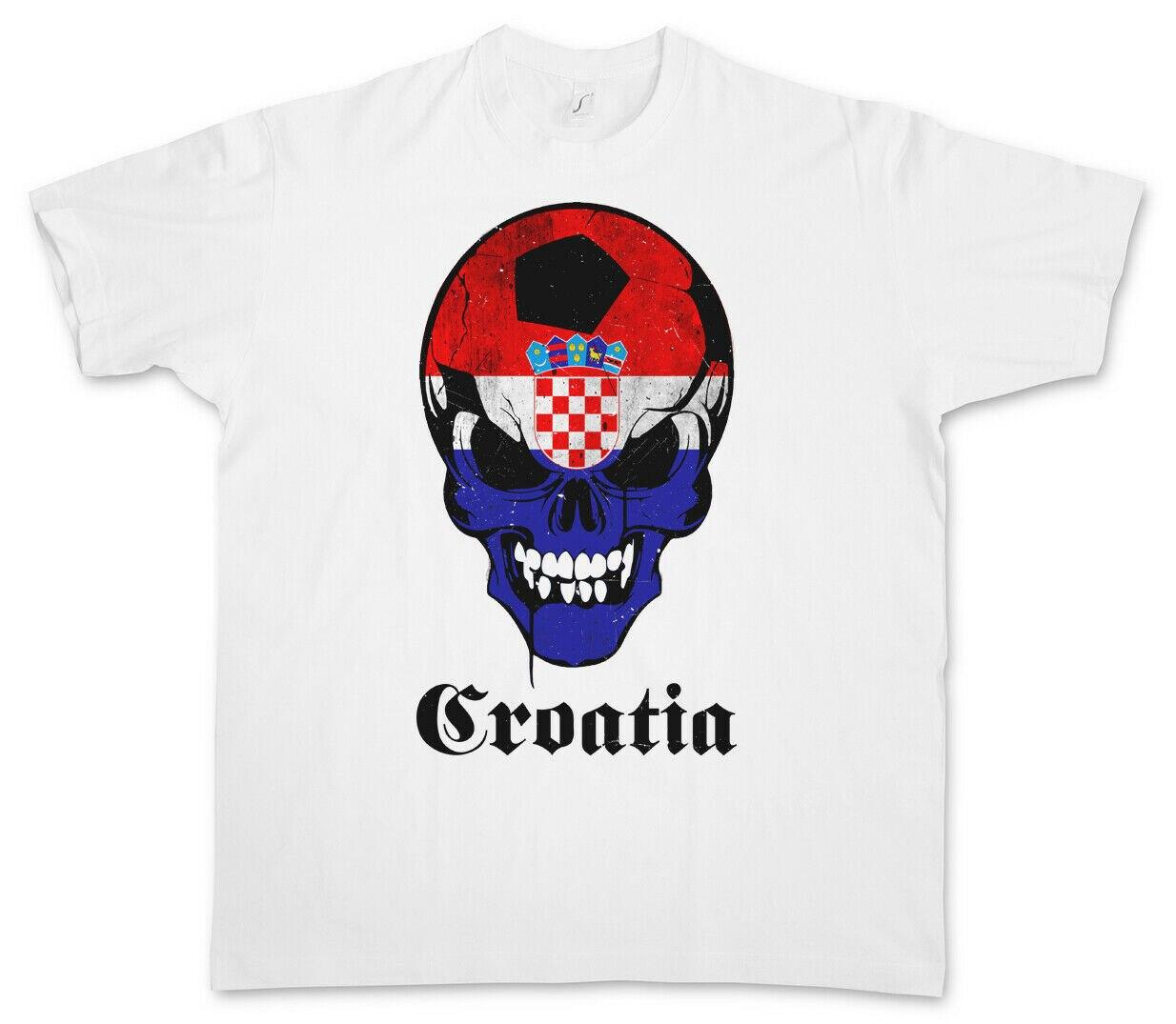 CROÁCIA FUTEBOL BANDEIRA DO CRÂNIO T-SHIRT Flagge Sch?del Fã Fu? bola Bandeira Kroatia