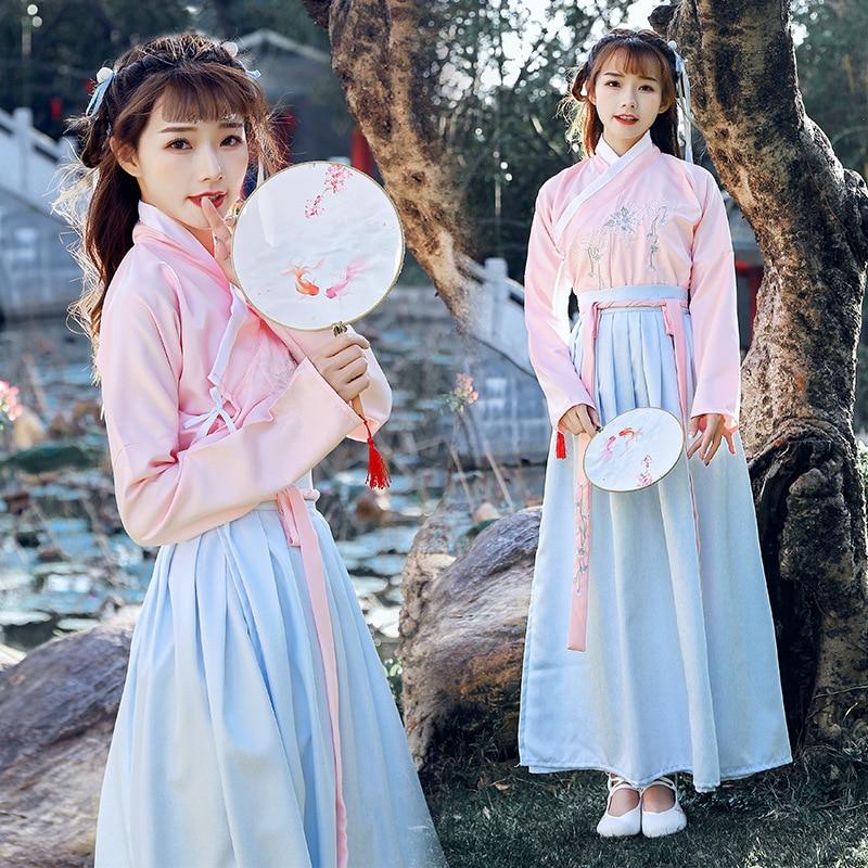 Китайский стиль для взрослых женщин на каждый день Hanfu дамы Весна и осень костюмы Феи костюмы фото одежда