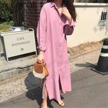 TVVOVVIN, vestido de camisa fácil, ocio urbano, de un solo pecho, fondo largo, forma suelta estilo perezoso, vestidos de algodón y lino L262