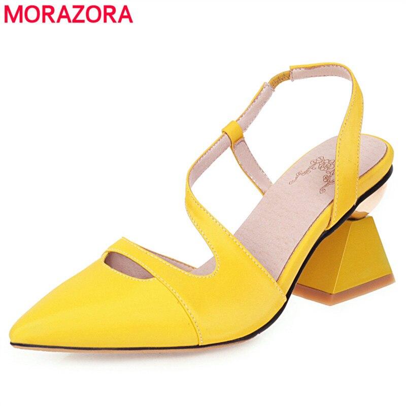 MORAZORA 2021 جديد الموضة النساء الصنادل عالية الجودة ماركة أشار تو غريب صندل كعب عالٍ الإناث أحذية حفلات الزفاف
