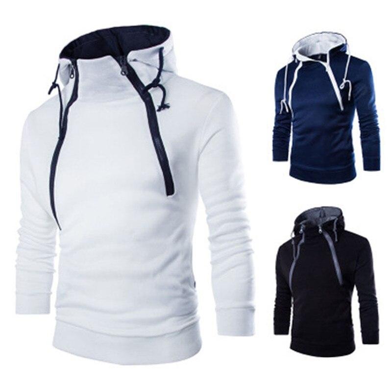 Новая трендовая одежда для мужчин, Модный пуловер, свитшот, дизайн с двойной молнией спереди, утепленная мужская толстовка с капюшоном