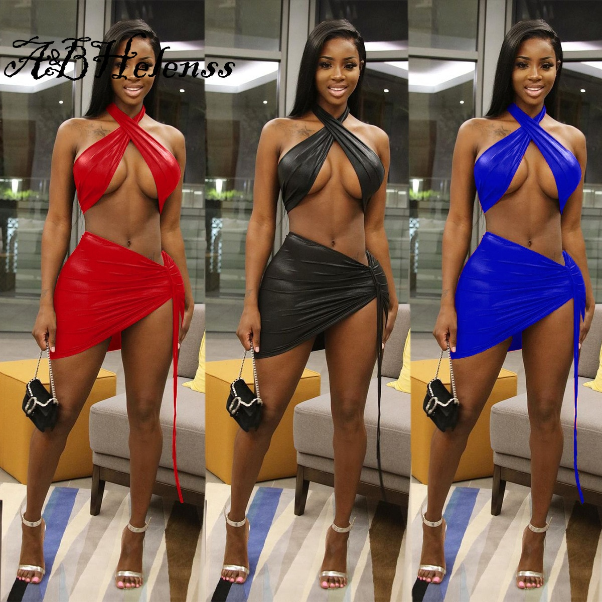 A&BHelenss PU Leather Sexy Halter Crop Top And Lace Up Bodycon Mini Skirt Two Piece Set Dress Fashion Y2k Night Club Beach Suit