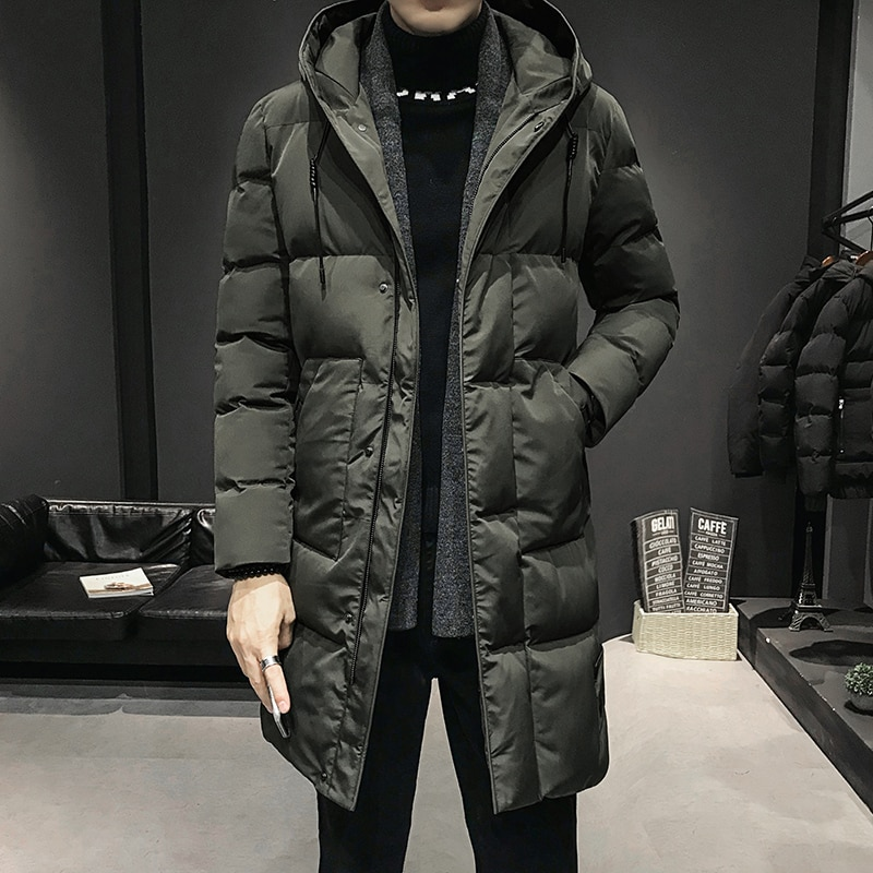 Cotton-padded jacket men's Winter Warm New style student growth padded Coat Thick Long Slim Parka Hooded jacket Plus Size 5XL